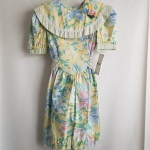 Vintage Youngland Girls Yellow Floral Dress